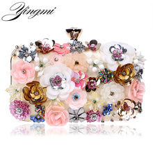 Embroidery Floral Women Evening Bags Rhinestones Handbag With Chain Shoulder Messenger Bag Plastic Flower Bag