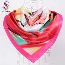 [BYSIFA] New Winter Satin Square Scarves Muslim Headscarves For Women 90*90cm Spring Autumn Seven Color Flower Silk Scarf Shawl