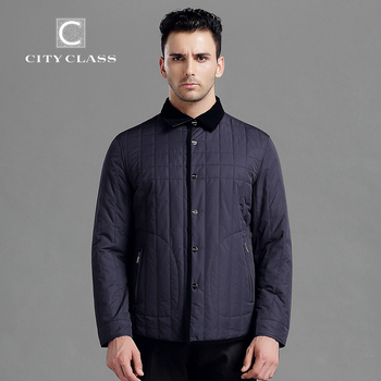 CITY CLASS 2015 Nouveau Printemps Automne Homme Casual Veste Affaires Slim Fit Turn-down Collar Mode Coton-rembourré Livraison gratuite 3321