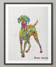 DIY Original watercolor Hungarian Vizsla Dog canvas painting Giclee wall art poster print Pictures Home Decor wall hanging gifts