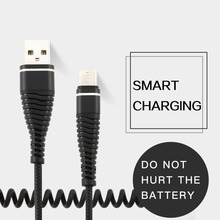 USB-C Type C Cable Coiled Spring Spiral Type-C Male Extension Cord Data Sync Charger Wire Charging Cable Samsung