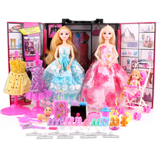 Hot 1 Set Baby Girls Dream Dolls Dress Up Jewelry Necklace Crown Clothing Suit Accessories Children Doll Wardrobe Toys Gifts