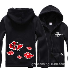 Anime Naruto Itachi Uchiha red cloud Zipper hoodies sportswear Sweatshirt cotton add plush hoody winter cosplay Costume NEW