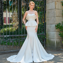 Dressv ivory wedding dress strapless mermaid bridal zipper up embroidery elegant outdoor&church lace trumpet wedding dresses(China)