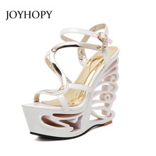 JOYHOPY Summer Fashion Patent Leather Gladiator Sandals Women Buckle Strap Super High Heels wedges Platform Shoes Woman WS1650(China)