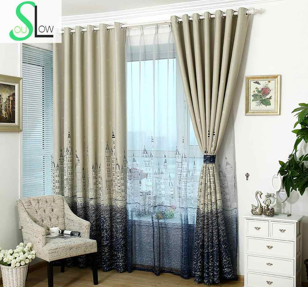 [Slow Soul] Mediterranean Sea Castle Thick Curtains Cloth Bedroom Living Room Study Children Curtain Cortinas Blackout Drapes