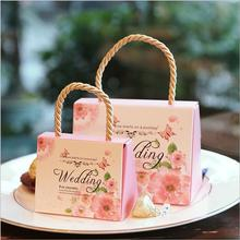 100pcs Portable wedding candy box favors box paper gift bag packaging box for guests party decoration supplies