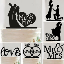 1pc Wedding Theme Cupcake Cake Topper Multi-shape Acrylic Cake Flags Love Festival Anniversary Party Cake Decoration Supplies