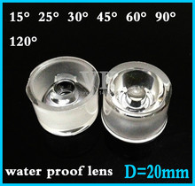 50pcs LED lens for 1W 3w LED light water proof PMMA 20MM PBC LENS 15 20 30 45 60degree Reflector Collimator convex optical lens