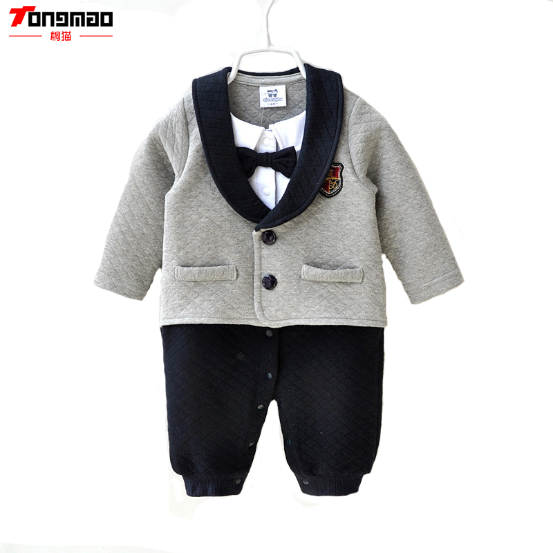 Gentleman Baby Clothes Pure Cotton Baby Boys Autumn&amp;Winter  Solid Full                                            Rompers Cravat<br><br>Aliexpress