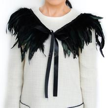 New 2015 Hand Made Black Feather Fake Collar Necklace Cape Shawl for Evening Fancy Dress Party(China)