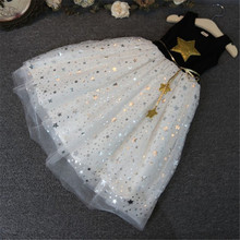 New Fashion Kids Baby Girls Dress Stars Sequins Tulle Bow Toddler Tutu One Piece Dress Children Princess Dresses Fit 1-11 Years