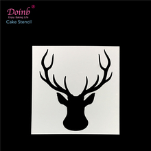 Christmas Deer Head Plastic Cake Stencil Pad Spray Flower Mold Strew Duster Cupcake Fondant Decoration Baking Tool Moulds FQ4101