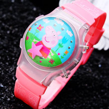 1PC Lovely Pink LED Girls Cartoon Watches Funny Children Digital Dress Watch With Flashing Light Free Shipping Kids Wristwatches