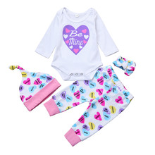 Newest Cheap Fashion Newborn Boys Girls Letter Hearts Purple Bodysuit Cap Headband Pants 4 PCS Baby Clothing Baby Girl Clothes(China)