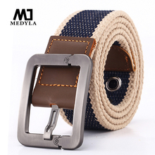 HOT 2017 wholesale Real Solid brand Belt for Men Cinto men's Fashion Pin Buckle Canvas cowboy knitted Strap Casual Striped belt(China)