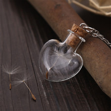 Wish Bottle Necklace Heart Pendant Lucky Necklace Men Women Jewelry With Real Dandelion Flower Christmas Gift Party