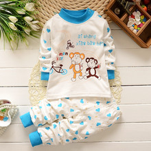 New arrival spring clothing boys girls autumn clothes sets cartoon Monkey Bike pattern children inside T-shirt+trousers