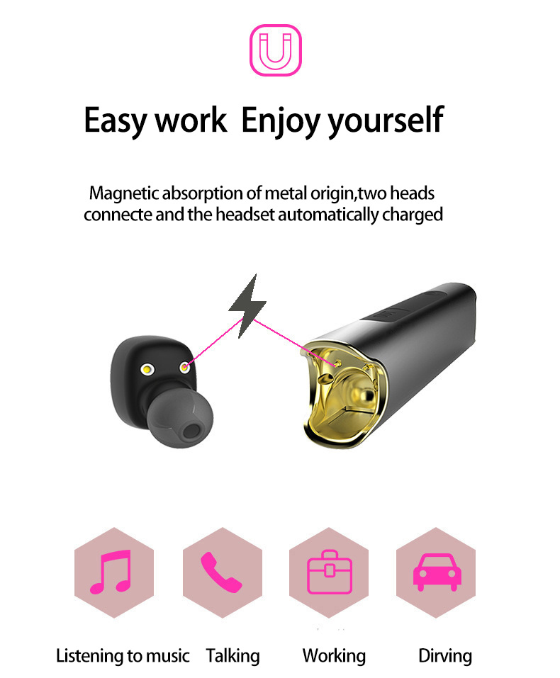 BANMIX Wireless Waterproof Bluetooth Earphone Magnetic Twins Stereo Headset For iPhone 7 xiaomi With Power Bank Portable playe