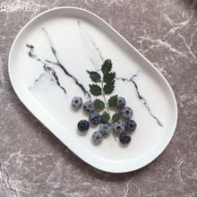 NOOLIM 1Pcs Minimalist Marbled Ceramic Dinner Plate Household Breakfast Plate Porcelain Deep Dishes Tableware Supply Best Gift