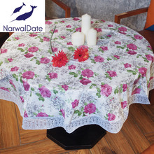 PVC Waterproof Oilproof Tablecloths Embroidery Table Cover for Round Table Cloth Floral Printed Lace Edge Plastic Tablecloth