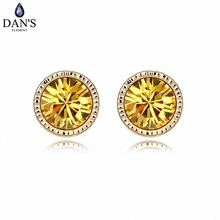 DAN'S 8 Colors Real Austrian Crystals Classic Vintage Fashion Stud earrings for women New 94091Gold(China)