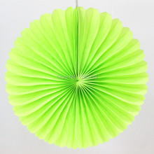 "Free Shipping!!! Party Supplies 12""(30cm)  Green Tissue Paper Fan Wedding New Year Decoration Round Paper Fan"