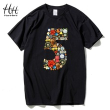 HanHent Funny Numbers Five 2016 Fashion Mens Multicolor T shirt Creative Cotton Top Tees Teen Brazil Funny T-shirts S-2XL(China)