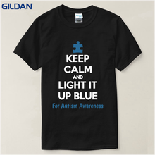 Clothing Plus Size S M L Xl Xxl Men'S Short Keep Calm And Light It Up Blue Autism Awareness Support O-Neck Christmas Shirt(China)