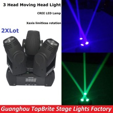 2XLot High Quality NEW 60W 3 Heads Moving Head Wash Light Mini LED 3X10W RGBW 4IN1 Beam Spot Light 100-240V Fast Shipping