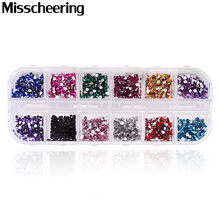 1.5-2mm Round Acrylic Rhinestones,1 Box Mixed 12colors Flat Back 3d Nail Gem Stones,Glitter Manicure Nail Decoration Diamonds(China)