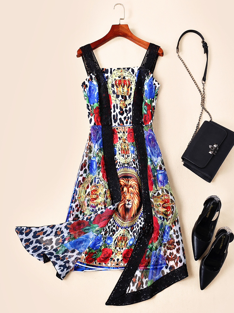 PAH05187    High quality New Fashion Women 2019  Summer Dress Luxury famous   European Design  party style dress