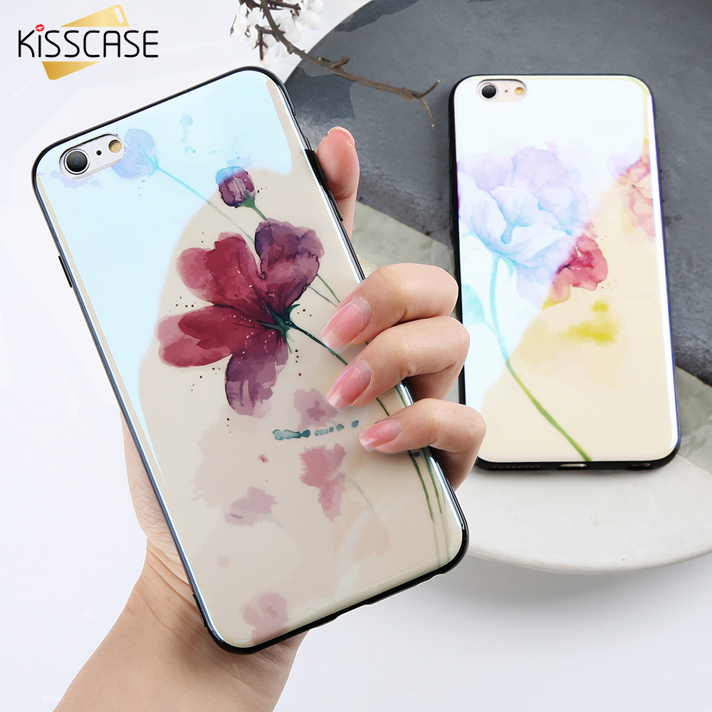 KISSCASE Case iPhone 6 6s Fashion Blue-Ray Red Flower Mobile Phone Cases iPhone X 7 8 6 6 S Plus Soft Silicone Capinhas