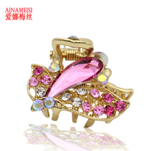 Gold Metal Butterfly Mini Hair Claws Clip Crystal Rhinestone Hairpin Hair Jewelry Charm Hair Accessories For Women