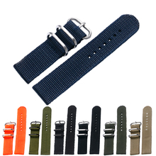 7 Colors New Aviator Belt Replacement 20/22mm Stainless Steel Pin Buckle Sport Military Nylon Fabric Canvas Wrist Band Strap(China)