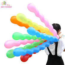 HEY FUNNY 100 pcs/pack 1.5g Twisted Latex Balloon Spiral Long Balloon Bar KTV Party Supplies Strip Shape Balloon Inflatable Toys