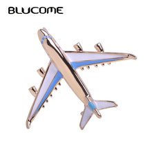 Blucome Cute Little Airplane Brooch Blue Enamel Gold-color Metal Brooches Pin Fighter Aircraft Model Jewelry Suit Clothes Clips(China)
