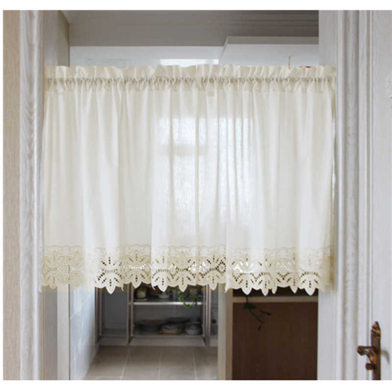 2Pcs/set Home Decoration Coffee Curtains Short Curtains For Kitchen / Living Room Embroidered Lace