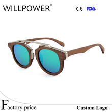 China Fashion Design Sun Glasses Multi-color Double Metal Spring Hinge wooden sunglasses(China)