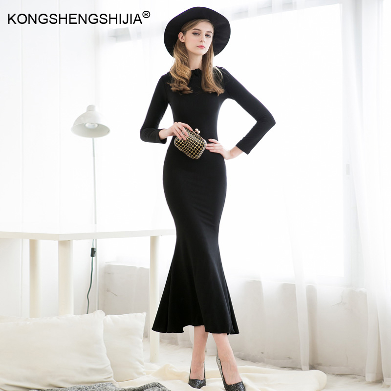 latest sexy designs trumpet mermaid back split cotton long winter celebrity boutique dresses 9267(China (Mainland))