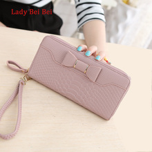 Hot Sale Women Lady Long Wallets Purse Female Candy Color Bow PU Leather Carteira Feminina for Coin Card Clutch Bag(China)