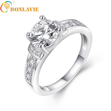 BONLAVIE 1 Piece Woman Silver Plated Cute Zircon Stylish Crystal Size 5-9 Ring aneis feminino Jewelry Gift Fashion AKR003