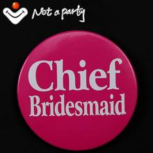 Wedding event 50% off for 3pcs bride to be badge fun Hen party brooch chief bridesmaid button bachelorette hens night favor