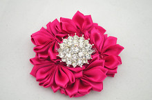 free shipping NEW rhinestone silk flower hairpin DIY Layered satin ribbon flower brooch hair wedding accessories 150pcs/lot