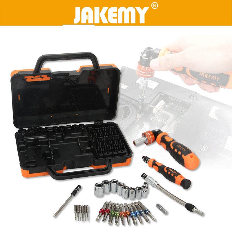 JAKMEY 31-in-1 Precision Screwdriver Socket Set Extend Bar Color Ring Screw Drivers Magnetizer Professional Repair Hand Tool<br>