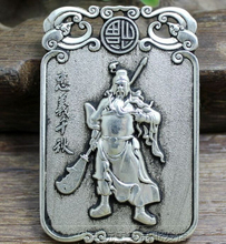 Chinese antique copper carved double duke guan process sign pendant(China)