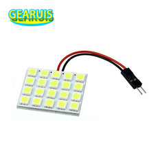 100pcs/lot Dome light 20SMD 5050 20 smd LED car interior Dome panel roof reading Light t10 / ba9s festoon 2 adapters white 12v(China)