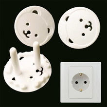 4pcs Children Electrical Safety Euro America standard Protective Socket Cover Cap Cartoon Bear Two Phase Baby Security Product