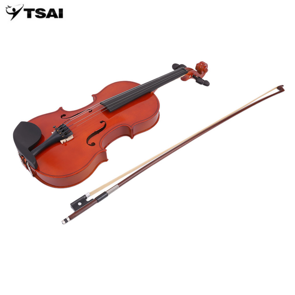 TSAI Violin 4/4 Full Size Solid Wood Natural Acoustic Violin Fiddle With Case Bow Rosin Professional Musical Instrument<br>