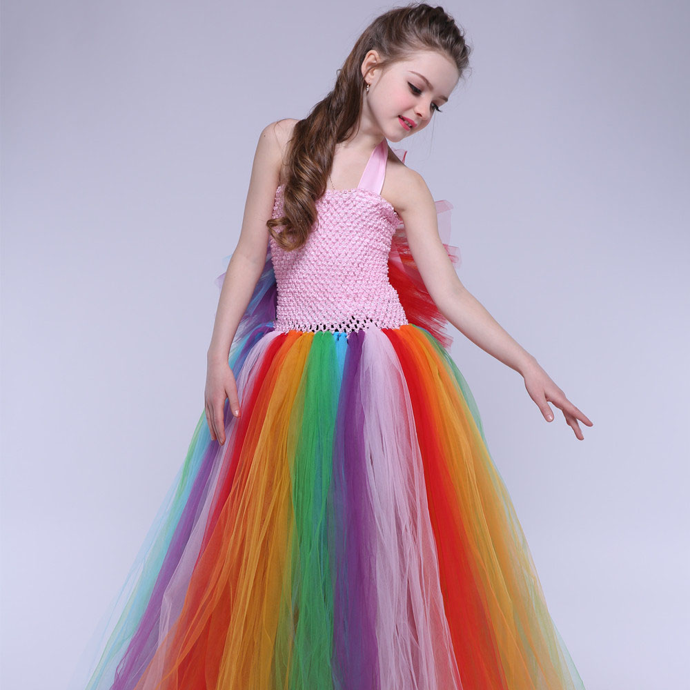 Kids dresses for girls rainbow dresses for party and wedding 2018 kids girls clothes 1-9 years sleeveless summer princess dress<br>